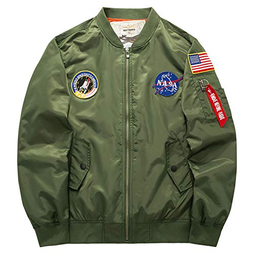 Honiee Men's Bomber Flight Jacket with Patches (US S, Army Green)