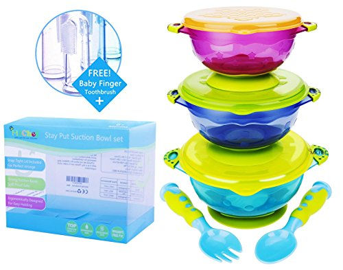 MiChef Stay Put Suction Bowl, Spill Proof, Baby Bowls with Snap Tight Lids, Baby Gift Set of 3 Count, and 2 Best Baby Spoon and Fork, Perfect for Babies & Toddlers BPA & BPS Free FDA Approved