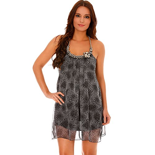 Miss Wear Line - Robe en voilage grise à motif léopard col à ornement grosses perles argentées