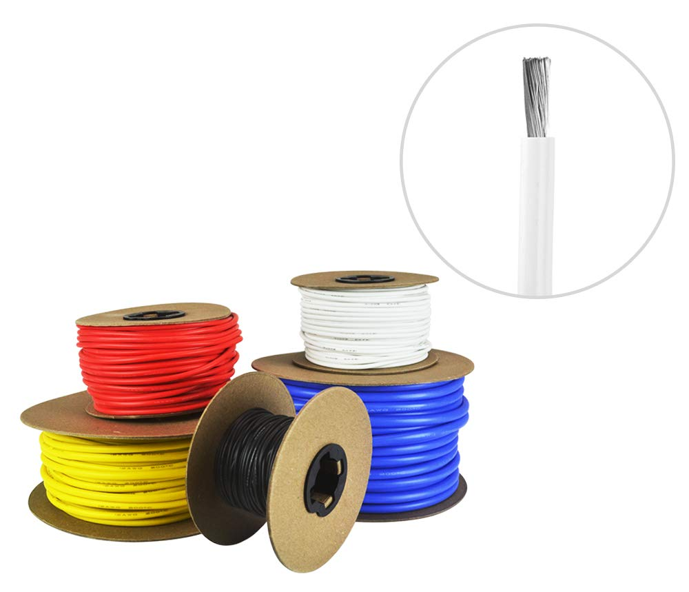8 AWG Gauge Silicone Wire - Fine Strand Tinned Copper - 100 Feet White by Common Sense Wire