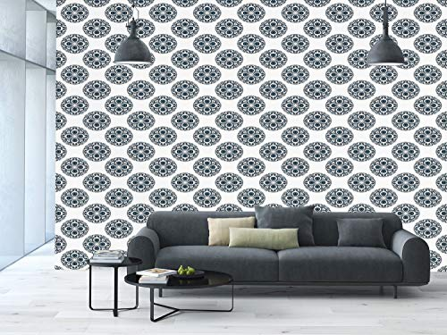 Large Wall Mural Sticker [ Geometric,Abstract Geometric Pattern Traditional Inspiration Abstract Nature Theme Print,Indigo White ] Self-adhesive Vinyl Wallpaper / Removable Modern Decorating Wall Art -