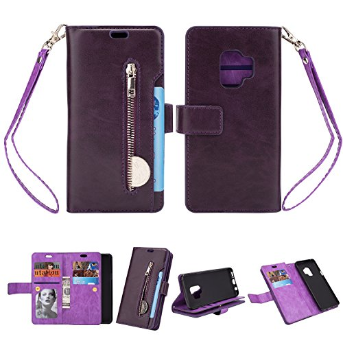 Galaxy S9 Wallet Case, Leather [9 Card slots] [photo & wallet pocket] (Purple)