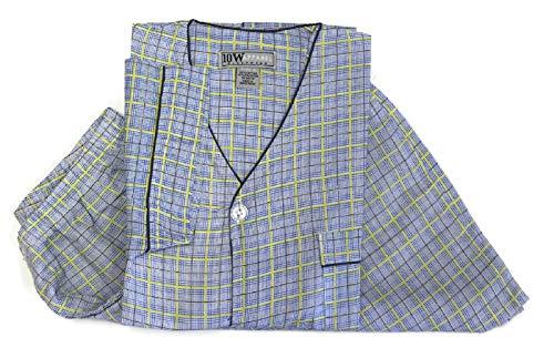 TEN WEST Apparel Mens Cotton Yarn Dyed Short Sleeve Short Leg Printed Pajamas Set (Large, Yellow Plaid)