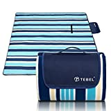 TEBEL Extra Large Picnic & Outdoor Blanket,Picnic Rug 80'' x 80'' Dual Layers For Outdoor (Blue) (Blue Stripe)