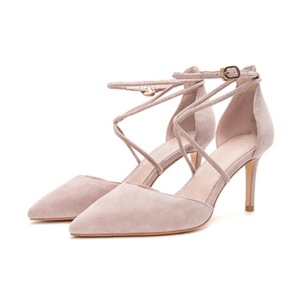 MUMA Scarpe col tacco Hot Wind 2018 Spring New Sweet Lady Cross Belt Scarpe casual punte scarpe bocca superficiale (colore   rosa, dimensioni   EU36 UK3.5 CN35)