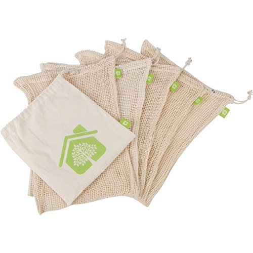 Reusable Produce Bags - Organic Cotton Mesh - 5 Pack - Large Size for Grocery Shopping and Fruit and Veggie Storage - With Convenient Muslin Carry Bag