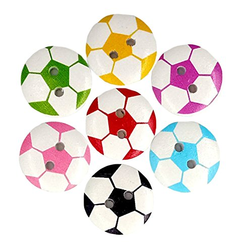 50Pcs Round Shape 2 Holes Soccer Football Wooden Button for Sewing Scrapbooking - Random Color liyhh