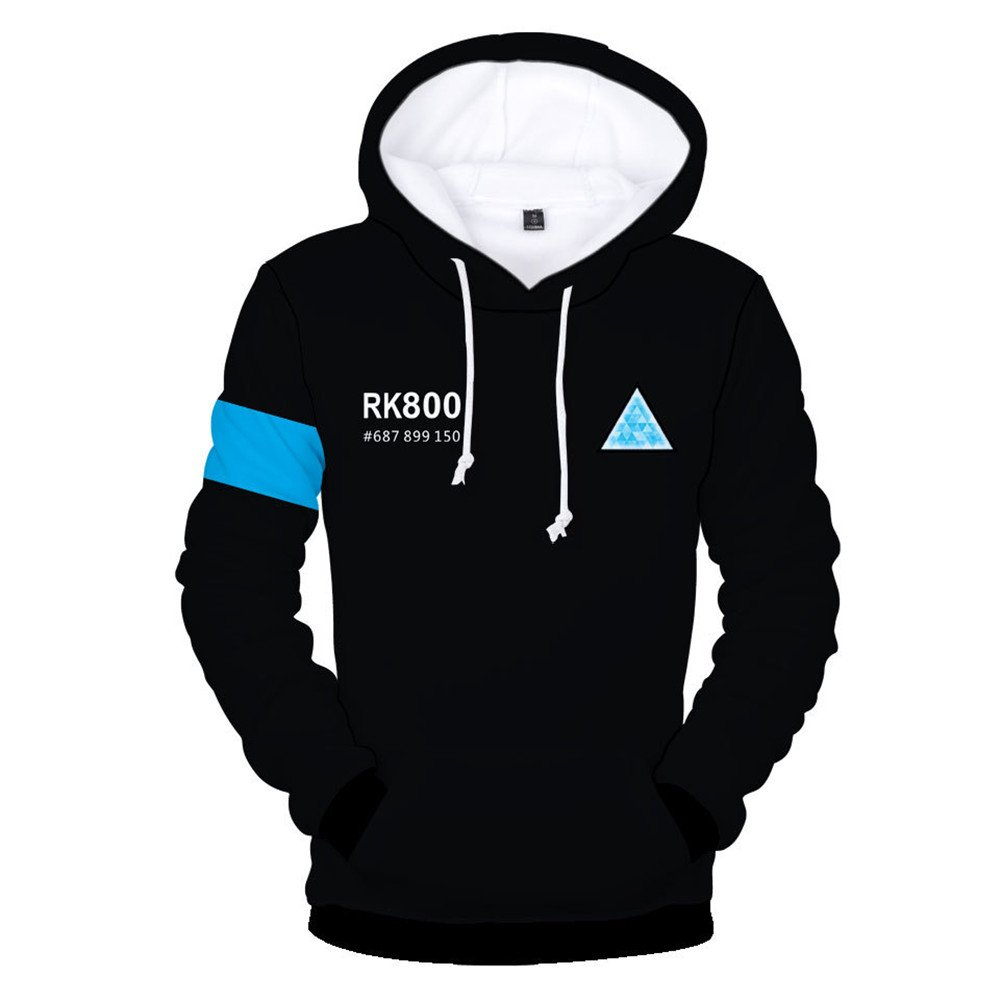 VOSTE Become Human Hoodie 3D Printed Hooded Pullover Sweatshirt (Medium, Color 6)