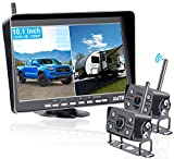 AMTIFO A10 FHD 1080P 10'' Monitor RV Wireless 2 Backup Cameras for Trailers,5th Wheels,Motorhomes,Highway Monitoring Split/Quad Screen System with Recording Function,IP69K Waterproof - A10
