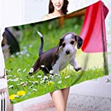 AmaPark 100% Cotton Super Absorbent Bath Towel Cute Little pet Dog Fast Drying, Antibacterial L55.1 x W27.5 INCH