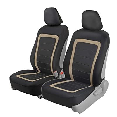 BDK FreshMesh Car Seat Covers, Front Seats Only – 2 Beige Front Seat Covers with Matching Headrest Cover, Modern Sideless Design for Easy Installation, Universal Fit for Car Truck Van and SUV: Automotive