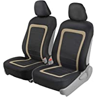 BDK FreshMesh Car Seat Covers, Front Seats Only – 2 Beige Front Seat Covers with Matching Headrest Cover, Modern Sideless Design for Easy Installation, Universal Fit for Car Truck Van and SUV
