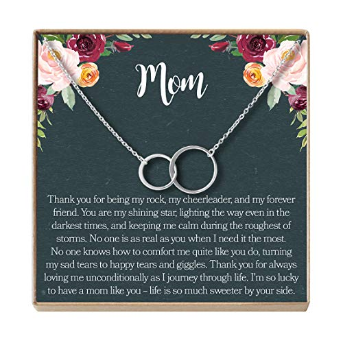 - Dear Ava Mom Gift Necklace: Mother Daughter Jewelry, Thank You Mom, 2 Asymmetrical Circles (Silver-Plated-Brass, NA)
