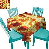 "longbuyer Burnt Orange,Customized Tablecloth,Hot Burning Lava Texture Bursting Fire Flames Volcanic Heated Magma Image,54""x54"",Suitable for Kitchen, dustproof Desktop Decoration"