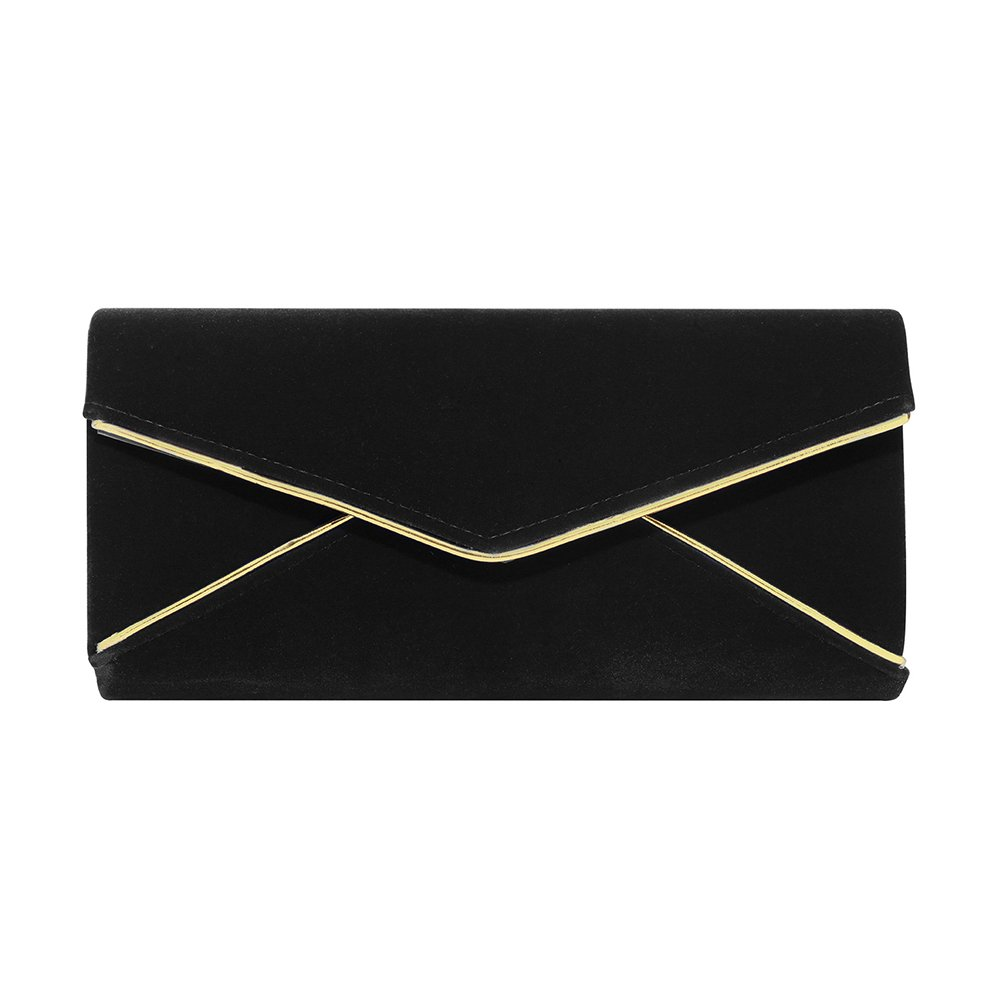 Stjubileens Ladies' Velvet Evening Bag Formal Party Clutch For Women With Chain Strap (Black)