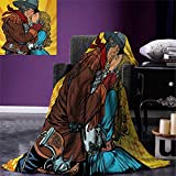Western Super Soft Lightweight Blanket Steampunk Robots Western Style Cowboy Kisses The Girl Illustration Print Oversized Travel Throw Cover Blanket 90''x70'' Yellow and Brown