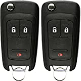 KeylessOption Keyless Entry Car Remote Uncut Flip Ignition Key Fob Replacement for GMC Chevy Equinox OHT01060512 (Pack of 2)