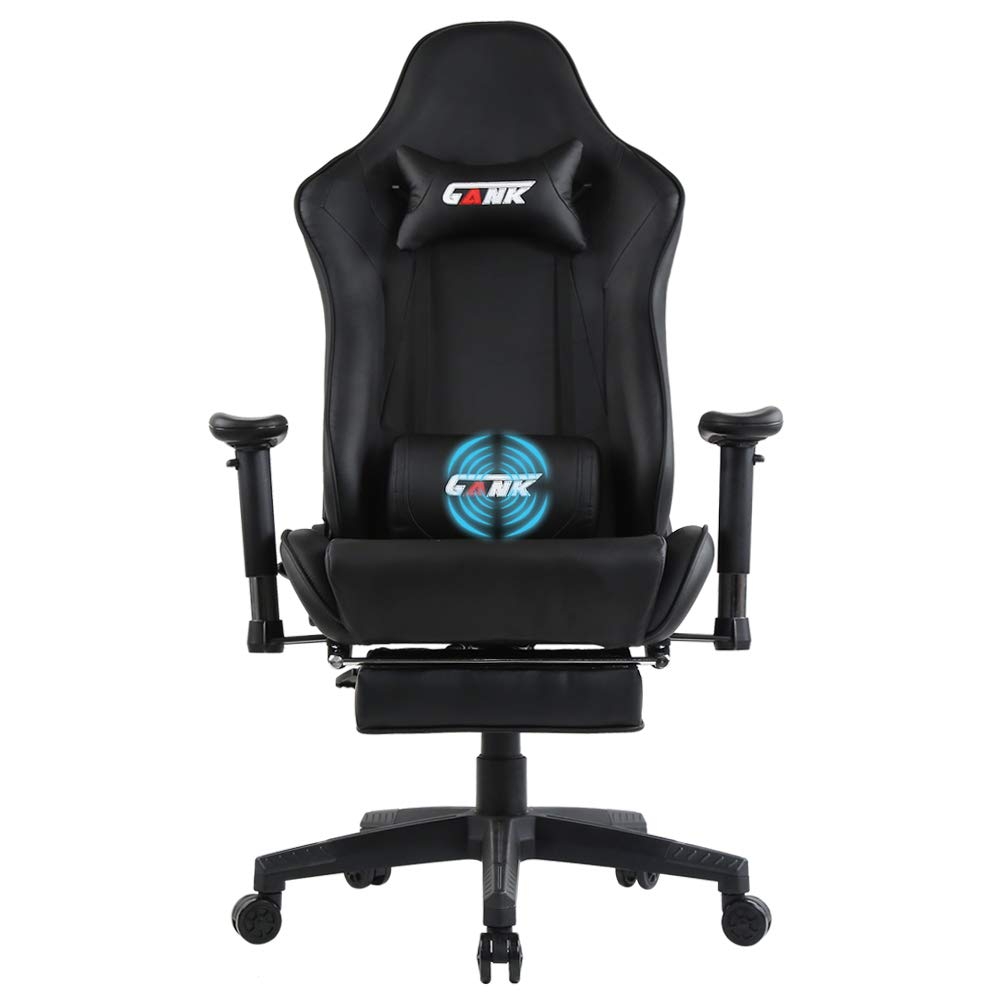 GANK Gaming Chair Large Size Racing Office Computer Chair High Back PU Leather Swivel Chair with Adjustable Massage Lumbar Support and Footrest