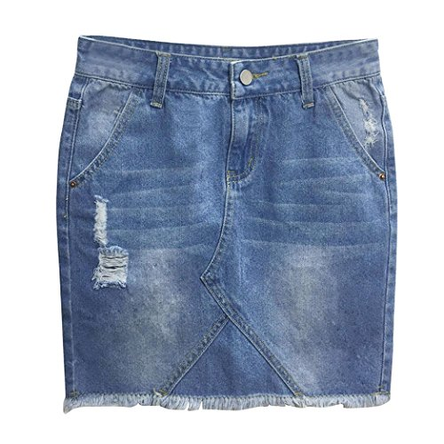 UOFOCO Skirts for Women Mini Skirt Blue Denim Jeans Solid Casual Hole Summer Button Short