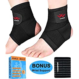 Ankle Brace, 2PCS Breathable & Strong Ankle Brace for Sprained Ankle, Stabilize Ligaments, Prevent Re-Injury…