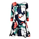 iHENGH Women's Casual Retro Long Sleeve Vintage Christmas Printed Cocktail Dress(Green,S)