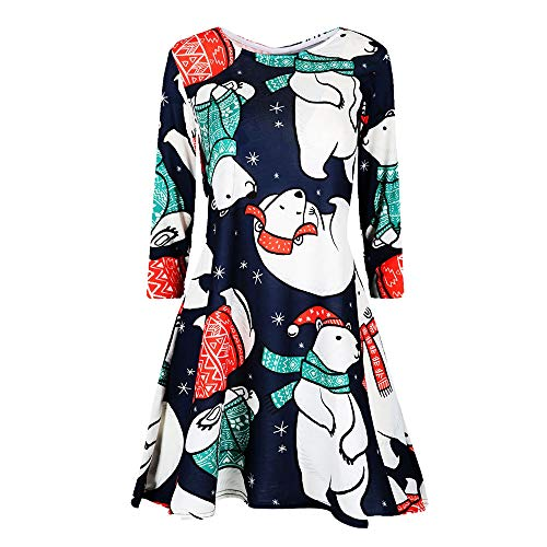 (NRUTUP Christmas Printed Dress Women's Casual Retro Long Sleeve Vintage Cocktail Dress Party(Multicolor,M))