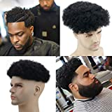SinoArt Mens Toupee 10x8 Inch Replacement Swiss Lace Front Hairpiece for Men 100% Virgin Human hair Color #1 Jet Black