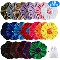 20-Piece Acecharming Velvet Scrunchies Set with 20 Colors Hair Accessories Ropes