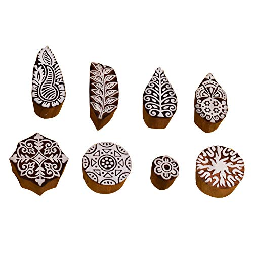 Hashcart Printing Stamps Mughal Design Wooden Blocks (Set of 8) Hand-Carved for Saree Border Making Pottery Crafts Textile ()