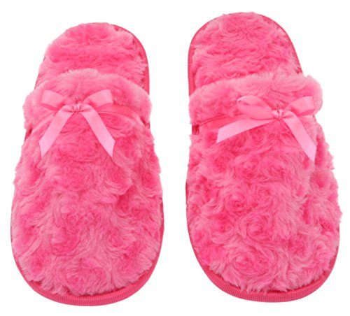 Womens Fuzzy Fleece Slip-On Memory Foam House Slippers, Size 5-6 - Warm Fluffy Fleece  - Cute Teen Pajama Accessory - Soft, Gripping Non-Slip Durable Rubber Sole - Womens Slippers, Hot Pink