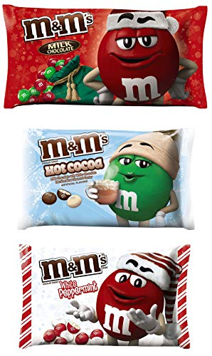 M&M Solid Milk Chocolate Candy - Milk Chocolate Hot Cocoa White Peppermint Flavored M&M's Mint Christmas Candy - 8-11.4 Ounce - Pack of 3 -