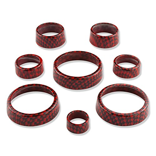 American Brother Designs ABD-1514CFGKZ Torch Red 8 Piece Interior Knob Kit for Corvette C7 Stingray/Z06 (Carbon Fiber Paint Code GKZ) ()