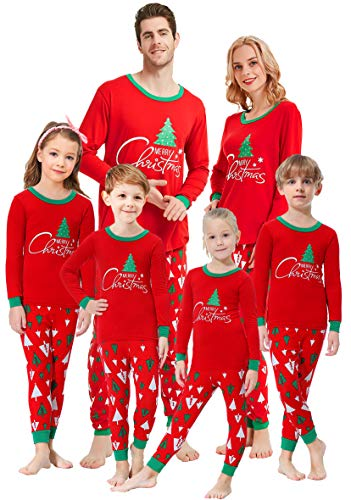 Matching Family Pajamas Christmas Tree Boys and Girls Pyjamas 2 Piece PJs for Kids Size 7 ()