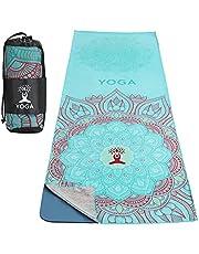 MoKo Towel for Yoga, Non Slip Hot Yoga Mat Yoga Blanket Printing Pattern Fast-Drying with Corner Pocket for Bikram, Pilates, Gym Workout, Outdoor Picnic, Lotus