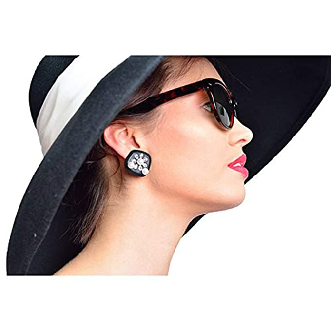 Audrey Hepburn-the Breakfast at Tiffanys Disfraz Black Earrings & Cat-eyed conchas de