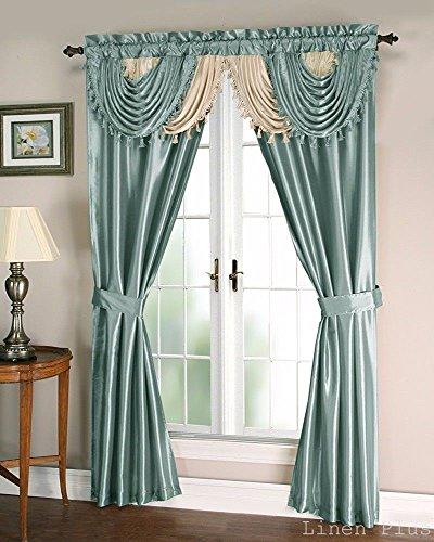 (Blue Beige Satin Waterfall Window Curtain Panels Tie Back)