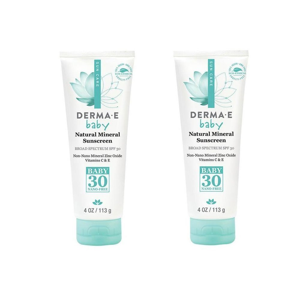 Derma E Natural Mineral Sunscreen SPF 30 Baby (Pack of 2) With Green Tea, Provitamin B5, Matricaria, Chamomile Extract, Vitamin C and E, 4 oz. each.