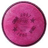 3M 2000 Series Respirator Prefilters, 2097 P100 Filter w/Organic Vapour - 2 Count