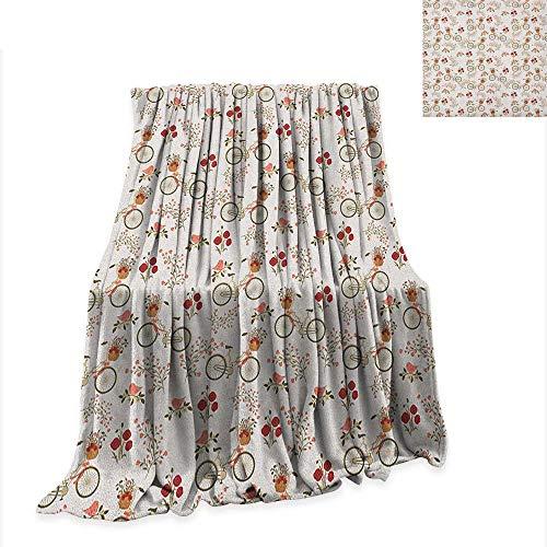 Anyangeight Floral Digital Printing Blanket Nostalgic Romance with Bikes Baskets Full of Poppy Flowers Baskets Love Birds Spring 90