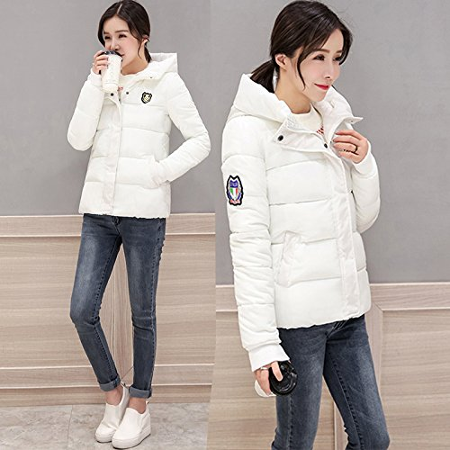 Xuanku Winter And Autumn Hooded Slim Tweed Cotton Twill PureColorCotton Lady1323501 White