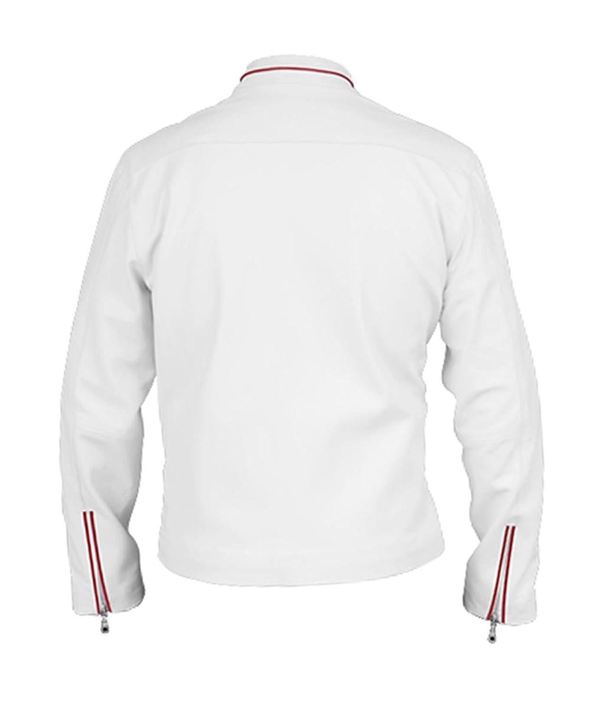 Angel Cool White Bomber Leather Jacket for Men