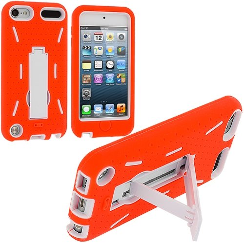 Orange / White Hybrid Rugged Hard Silicone Case Cover w/ Stand for Apple iPod Touch 5th Generation 5G (Ipod Touch Orange)