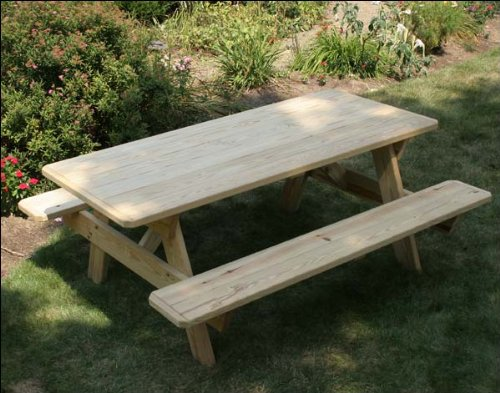 4' Treated Pine Picnic Table with Attached (4' Classic Wooden Bench)