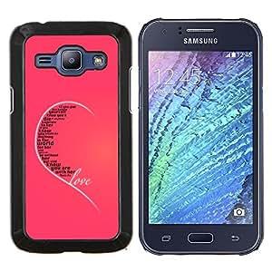 YiPhone /// Prima de resorte delgada de la cubierta del caso de Shell Armor - Amor oído Rosa Cita corazón verdades Incondicional - Samsung Galaxy J1 J100