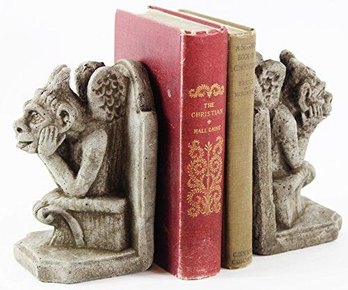 Fleur de Lis Garden Ornaments LLC Gargoyle Bookends Concrete French Book Holders ()