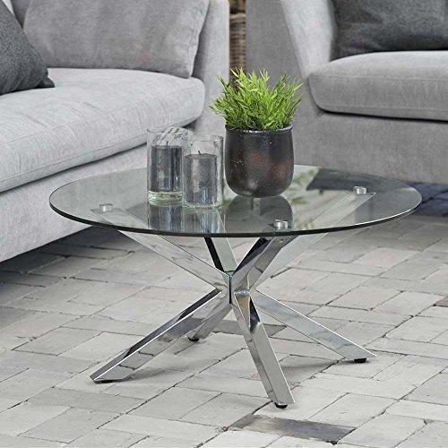 lounge-zone Design Couchtisch Glastisch Star, Glas, Chrom, 82cm 12830
