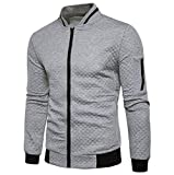 iQKA Mens Baseball Jacket Full Zip Up Long Sleeve Diamond Cardigan Fashion Solid Coat(Gray,Bust:36''/Tag:S)