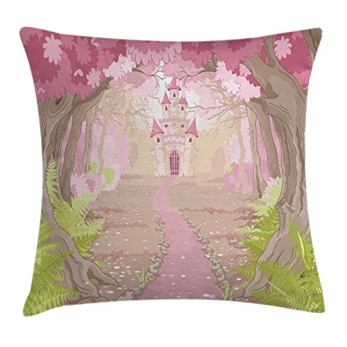 Teen Girls Throw Pillow Cushion Cover by Ambesonne, Fairy Tale Theme Princess Castle in Fantasy Forest Path Landscape Artwork, Decorative Square Accent Pillow Case, 16 X 16 Inches, Green Beige (Fairy Tale Toddler Bed)