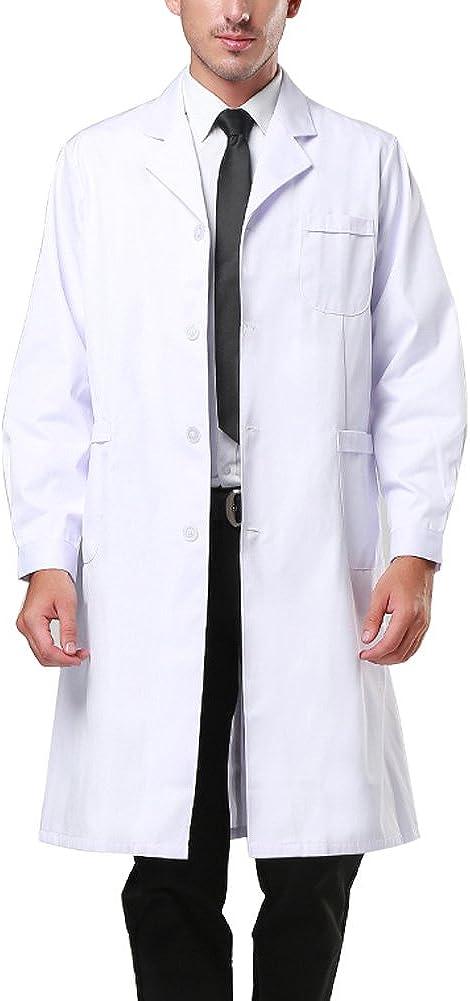 Nachvorn Professional White Long Sleeve Lab Coat Workwear Uniform for Women and Men