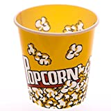 "[Novelty Place] Retro Style Plastic Popcorn Containers for Movie Night - 7.25"" Tall x 7.25"" Top Diameter (6 Pack)"